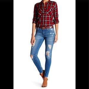 True Religion Halle Mid Rise Skinny Jeans Distress
